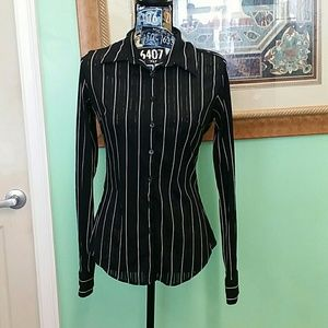 EUC Express medium black striped long sleeve shirt